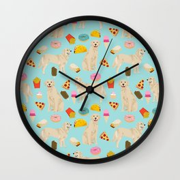 Golden Retriever donuts french fries ice cream pizzas funny dog gifts dog breeds Wall Clock