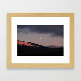 Moon over blackness and red pink ice Framed Art Print