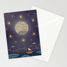 Sailing under the moon Stationery Cards