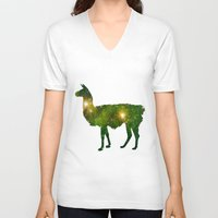 llama V-neck T-shirts featuring Llama by Lucas de Souza