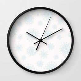 Assorted Light Blue Snowflakes On White Background Wall Clock
