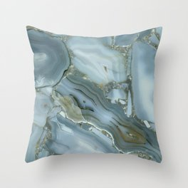Slate Blue Lace Agate Throw Pillow