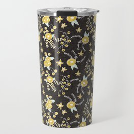 Holiday Floral Charcoal Gold  #holiday #Christmas Travel Mug