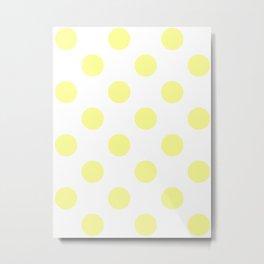 Large Polka Dots - Pastel Yellow on White Metal Print