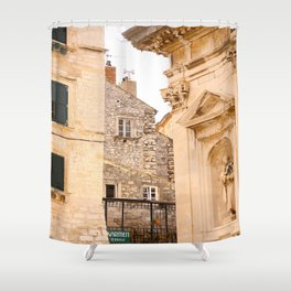 Terrace in Old Town Europe #decor #society6 Shower Curtain