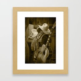 Western Country 6 String Acoustic Guitar in Sepia Tone with Horse Saddle and Cowboy Hat Framed Art Print