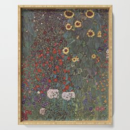 Country Garden with Sunflowers - Gustav Klimt Serving Tray