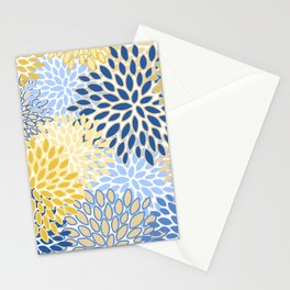 Modern, Floral Prints, Summer, Yellow and Blue Stationery Cards