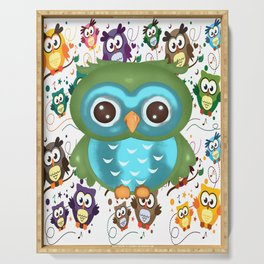 CUTE PLAYFUL OWL Serving Tray