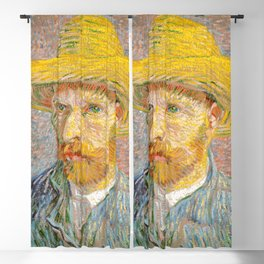 Self-Portrait with a Straw Hat - Vincent Van Gogh Blackout Curtain