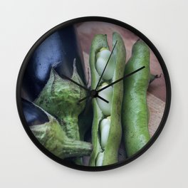 Eggplants and beans go well together Wall Clock