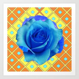 Blue Rose Caramel-yellow Pattern Art Art Print