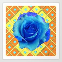 Blue Rose Caramel-yellow Pattern Art Art Print