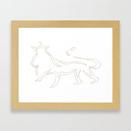 Gold Lion Silhouette Framed Art Print