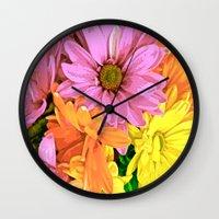 daisy Wall Clocks featuring Daisy by Saundra Myles