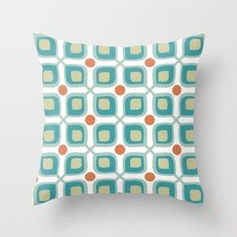 Abstract Flower Pattern Mid Century Modern Retro Turquoise Orange Throw Pillow