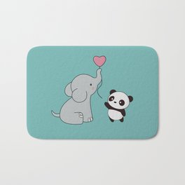 Kawaii Cute Elephant and Panda Bath Mat