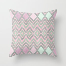 Rough Woven Geometry - Fabric ZigZag Pattern Pastel Pink Mint Charcoal Throw Pillow