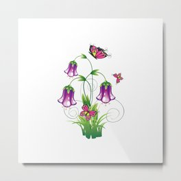 Bluebell Flower with Leaves Metal Print