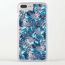Hidden Creatures - Grey / Teal Clear iPhone Case
