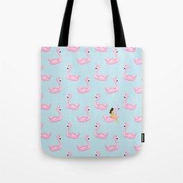 flamingo floats and girl Tote Bag