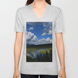 Meadow With Yellowstone River Unisex V-Neck