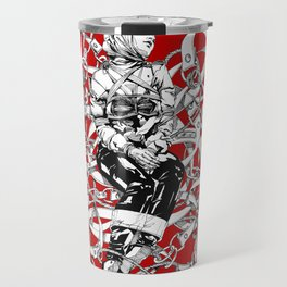 Lady in Belts Fantasy on red.  Yury Fadeev. Travel Mug