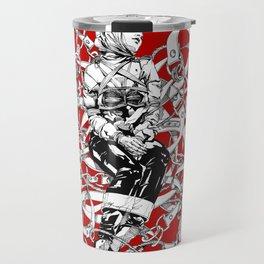 Lady in Belts Fantasy on red.  Yury Fadeev. Travel Mug
