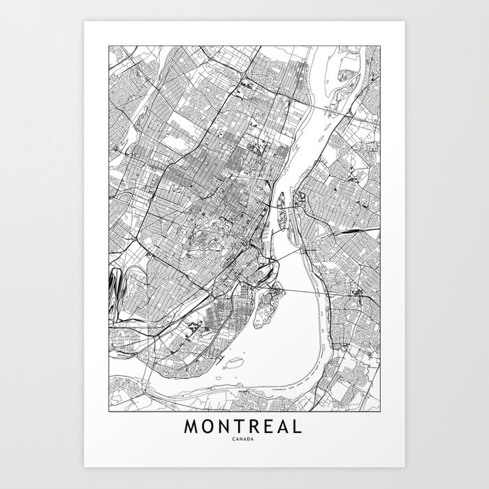 Montreal White Map Kunstdrucke