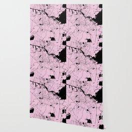Amsterdam Pink on Black Street Map Wallpaper