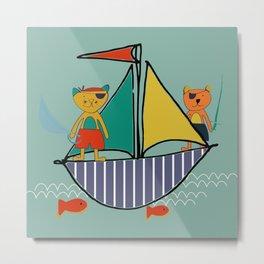 Pirate Boat teal Metal Print