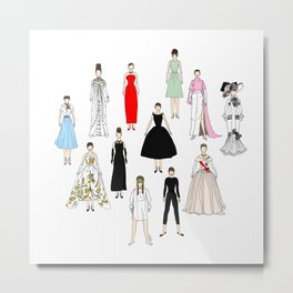 Audrey Fashion Whimsical Layout Metal Print