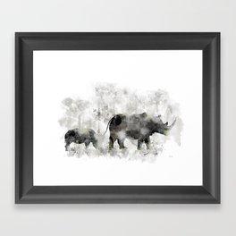 Rhino and Calf Framed Art Print