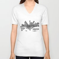 singapore V-neck T-shirts featuring Singapore Map by Shirt Urbanization