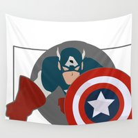 avenger Wall Tapestries featuring The first avenger by DocPastor