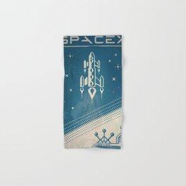 SpaceX retro-futuristic poster design Hand & Bath Towel