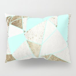 Modern Rustic Mint White and Faux Gold Geometric Pillow Sham