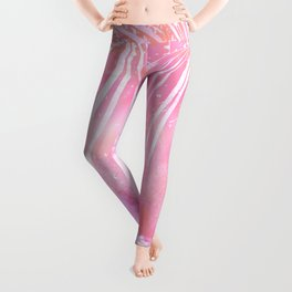 Abstract Pink Palm Tree Leaves Design Leggings