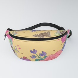 Bright Floral Garland on Yellow Fanny Pack