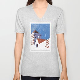 Vintage Travel Poster, Aged and Weathered - Campanile Unisex V-Neck