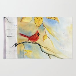 Cardinal on birch Tree Rug