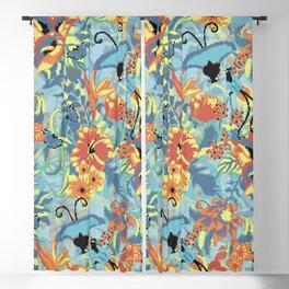 Flowers pixel art Blackout Curtain