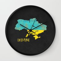 ukraine Wall Clocks featuring Ukraine Vintage Map by Finlay McNevin