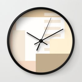 Carson Abstract Geometric Print in Tan Wall Clock