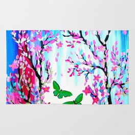 Cherry Blossoms and Butterflies Rug