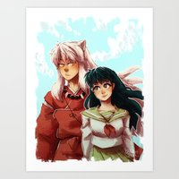 inuyasha Art Prints featuring Kagome + Inuyasha  by Smiling Owl Productions