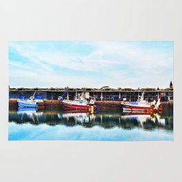 3 Boats in Dieppe Harbour Rug
