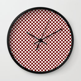 Vintage New England Shaker Barn Red and White Milk Paint Large Square Checker Pattern Wall Clock