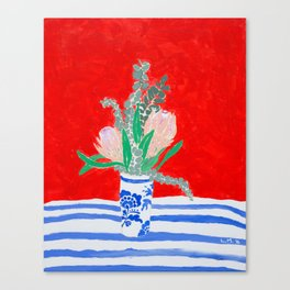 Protea Still Life in Red and Delft Blue Canvas Print