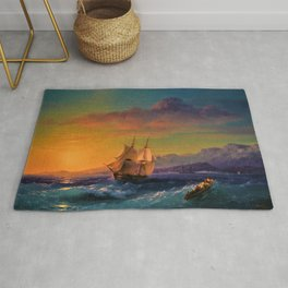 Ship at Sunset off of Cape Martin by Ivan Aivazovsky Rug